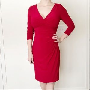Lauren Ralph Lauren Red Midi Dress Size 4